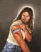 Artista retrata Jesus Cristo musculoso, fazendo pose e com tatuagem no braço
