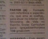 Igreja evangélica faz anúncio em classificados para contratar pastor