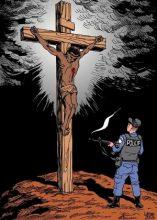 Desenho de Jesus sendo baleado por policial militar motiva processo contra juiz do Tribunal de Justiça do Rio de Janeiro