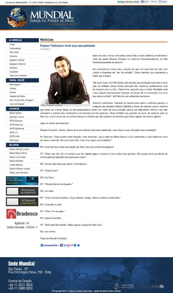 print site Mundial Feliciano homossexualidade