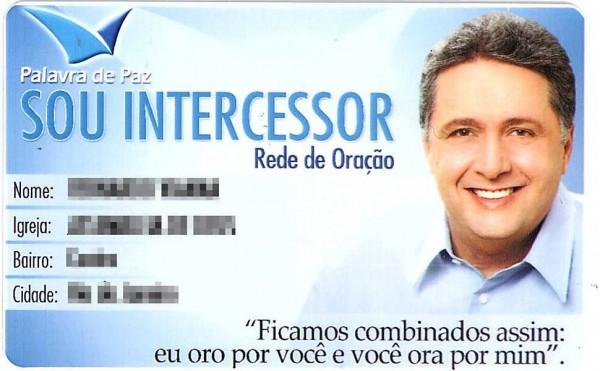 """Carteirinha enviada por Garotinho a eleitores evangélicos cadastrados em sua """"campanha de oração"""""""