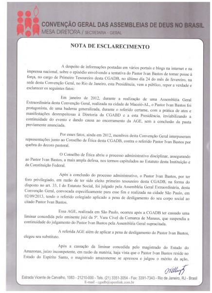NOTA DE ESCLARECIMENTO - Pr Jose Wellington - CGADB1