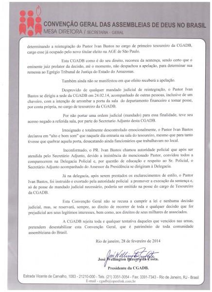 NOTA DE ESCLARECIMENTO - Pr Jose Wellington - CGADB2