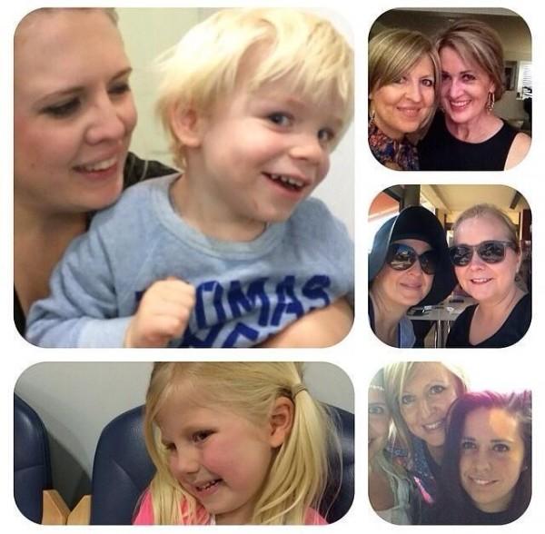 """""""Minha equipe de apoio para a minha última sessão de quimioterapia... Com a minha amiga Lisa, o filho Andrew e o bebê Ruthie. Muito grata..."""", escreveu a pastora"""