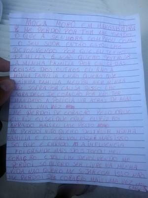 Carta escrita pelo ladrão pedindo perdão