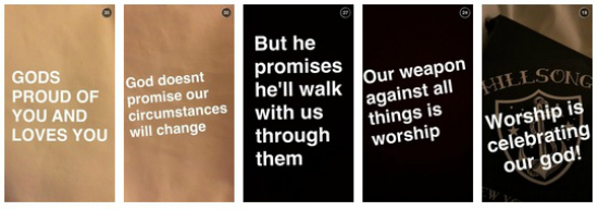 Mensagem de encorajamento publicada por Bieber no Snapchat