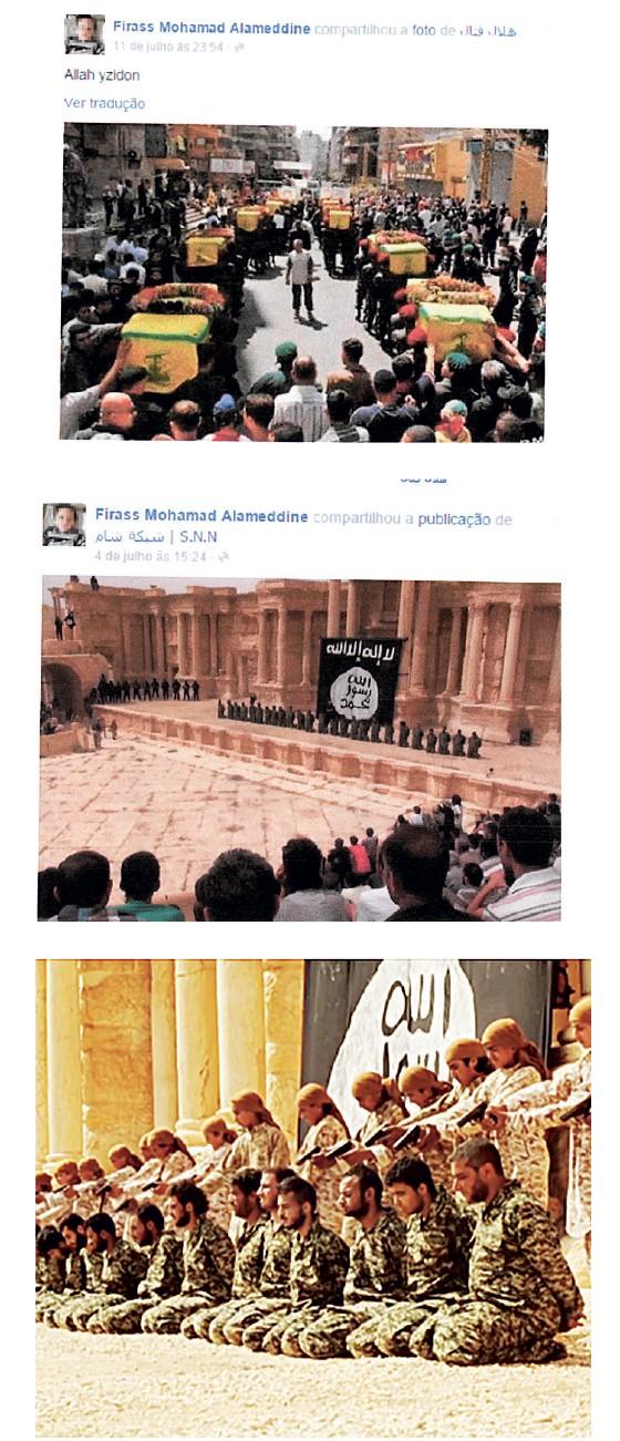 Postagens de Allameddin com apologia ao Estado Islâmico