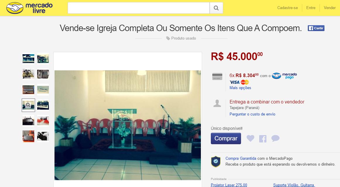 """6de26f40260 Igreja """"completa"""" é colocada à venda no Mercado Livre por R  45 mil e atrai  interessados  Entenda"""