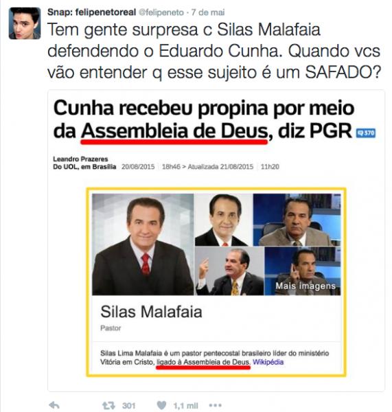 Twitt de Felipe Neto insinuando que Silas Malafaia estaria envolvido com Eduardo Cunha na Lava Jato