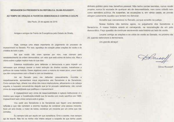 carta dilma impeachment oracao golpe