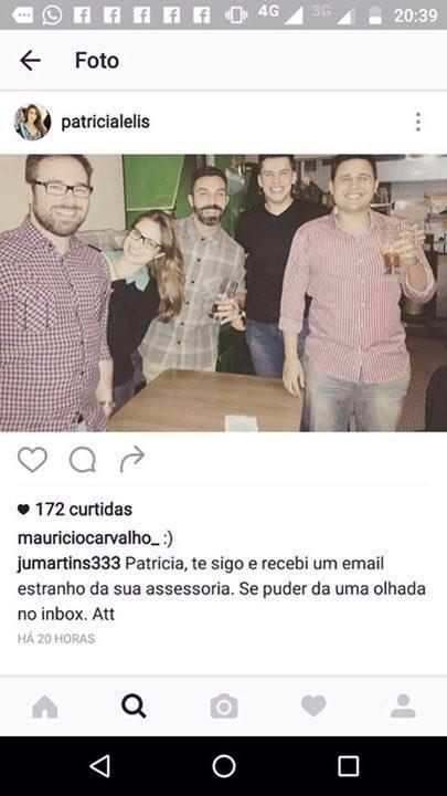 Imagem que teria sido publicada por Patrícia Lélis em seu perfil no Instagram no período em que alega ter estado em cárcere, sob coação de Talma Bauer