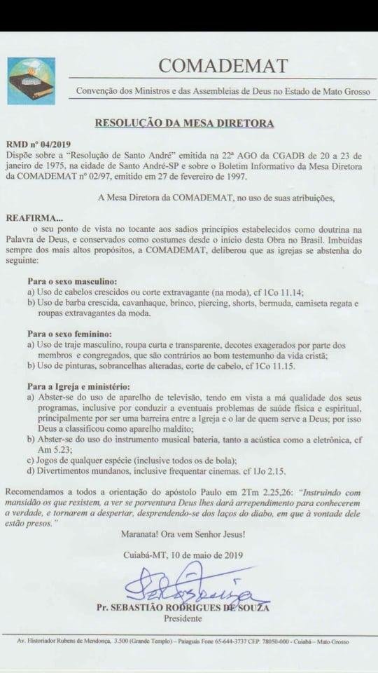 Imagem da resolução sobre usos e costumes da igreja