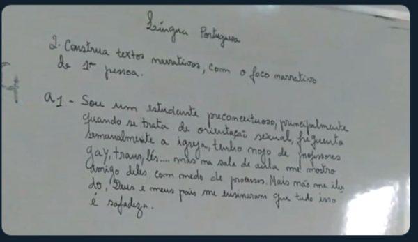 Professora usa texto de exercício para tachar evangélicos como preconceituosos